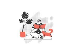坐着休闲看书男孩人物形象活动插画设计