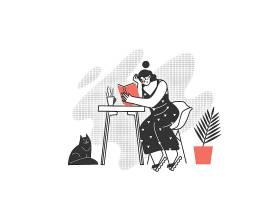 休闲看书女孩人物形象活动插画设计