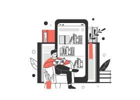 居家看书阅读的男孩人物形象活动插画设计