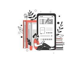 线上阅读学习的女孩人物形象活动插画设计