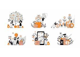 金融货币经济人物形象活动插画设计