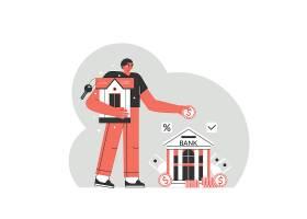金融理财银行人物形象活动插画设计
