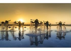人,日出,男人,反射,亚洲的,圆锥形,帽子,壁纸,