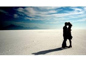 爱,沙漠,女孩,男孩,沙,天空,壁纸,