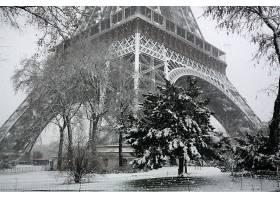 黑色,白色,巴黎,冬天的,雪,埃菲尔铁塔,塔,壁纸,