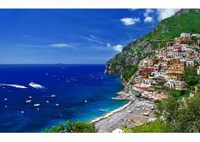 风景优美的,凭借,意大利,热带的,船,小船,海,海洋,别墅,村庄,城镇