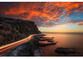 海岸线,路,延时,天空,云,日落,壁纸,