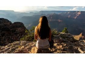 女人,后面的,妇女,宏伟的,峡谷,自然,山,风景优美的,风景,壁纸,