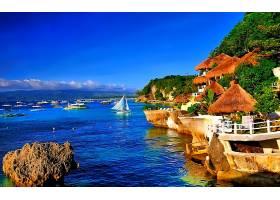海景画,海洋,热带的,别墅,小屋,岩石,小船,海岸线,壁纸,