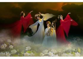 女人,妇女,女孩,亚洲的,跳舞,莲花,壁纸,