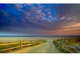海滩,小路,栅栏,草,自然,天空,海洋,地平线,沙丘,壁纸,