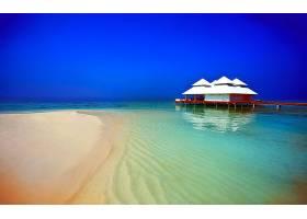 海滩,热带的,蓝色,地平线,别墅,海,夏天,壁纸,