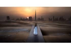 操纵,沙漠,沙,女孩,白色,穿衣,后面的,城市,摩天大楼,Burj,哈里发