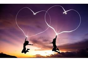 爱,人,日落,心,浪漫的,壁纸,