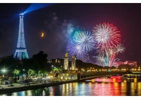 烟火,埃菲尔铁塔,塔,巴黎,夜晚,塞纳河,壁纸,