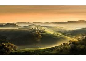 托斯卡纳区,意大利,早晨,领域,风景,壁纸,