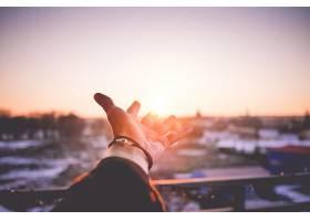 手,日落,深度,关于,领域,壁纸,