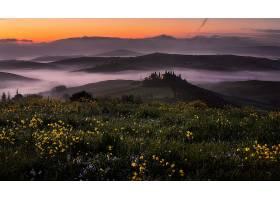托斯卡纳区,自然,风景,雾,小山,日出,意大利,壁纸,
