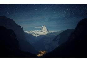 风景,城市,夜晚,山,山谷,灯光,布满星星的,天空,山峰,马特洪峰,瑞