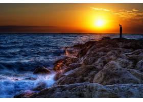 直接热轧制,海,日落,鸟,自然,风景,天空,波浪,壁纸,