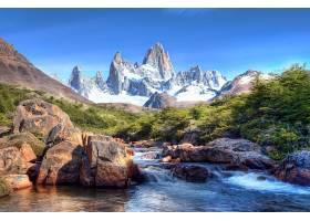 直接热轧制,溪流,风景,山,雪,自然,风景优美的,岩石,水,树,壁纸,