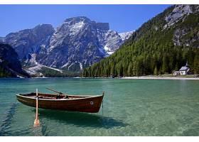 湖,湖,山,小船,森林,自然,风景,壁纸,