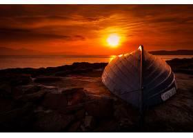 日落,自然,风景,水,岩石,小船,壁纸,