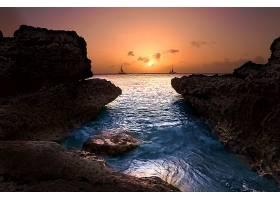 海洋,帆船,日落,海岸,岩石,海,地平线,壁纸,