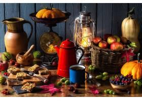 仍然,生活,咖啡,水果,灯笼,苹果,篮子,南瓜,浆果,刀,匙,壁纸,
