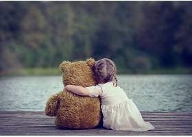 儿童,泰迪,熊,湖,风景,壁纸,