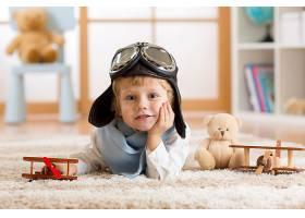儿童,深度,关于,领域,男孩,小的,男孩,玩具,泰迪,熊,蓝色,眼睛,飞