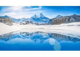 冬天的,自然,反射,雪,风景,山,山峰,快活的,壁纸,