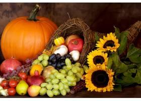 仍然,生活,秋天,向日葵,南瓜,水果,葡萄,壁纸,