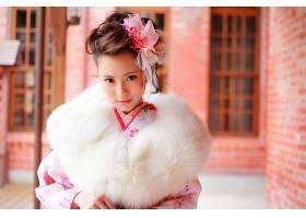 儿童,Bokeh,亚洲的,毛皮,弓,黑发女人,棕色,眼睛,传统的,服装,东