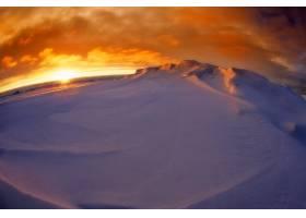 鱼眼石,山,雪,冬天的,北极的,南极洲,日落,云,天空,风景,太阳,壁