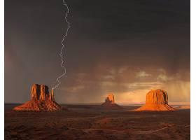 闪电,沙漠,风景,壁纸,