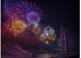 烟火,一致的,阿拉伯人,阿联酋航空公司,迪拜,Burj,Al,阿拉伯人,夜