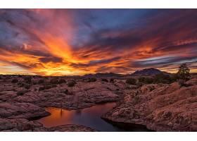 日落,地球,橙色的,岩石,云,风景,壁纸,