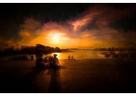 日落,水,人,太阳,绘画,壁纸,
