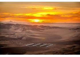 日落,沙漠,建筑物,自然,橙色的,风景,天空,山,沙,太阳,壁纸,