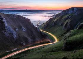 延时,延时,路,山谷,雾,风景,壁纸,