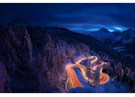 延时,延时,夜晚,风景,路,冬天的,森林,山,雪,壁纸,
