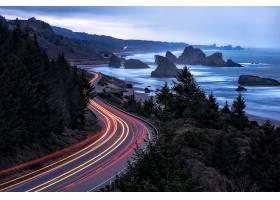 延时,延时,海岸线,路,风景,壁纸,