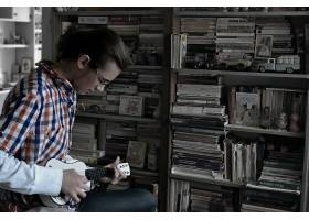 人,尤克里里,吉他,音乐,Chlapecshudbou,书,图书馆,过时的,设备,