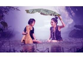 人,雨,女孩,儿童,亚洲的,壁纸,