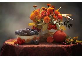 仍然,生活,秋天,李子,水果,南瓜,万寿菊,花,橙色的,花,壁纸,