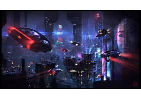 城市,车辆,未来主义的,建筑物,夜晚,雨,赛博朋克,城市风光,壁纸,