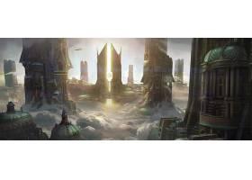 城市,雾,摩天大楼,壁纸,