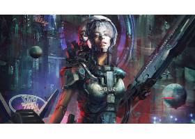 女人,勇士,警察,装甲,城市风光,机器人,壁纸,