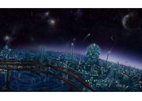 风景,外星人,艺术品,城市风光,宇宙的,图画,夜晚,绘画,Photoshop,